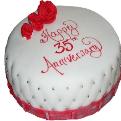 premium made 35th Anniversary round Cake of white color design of red and white color and red color designs on it  - Expressluv.in