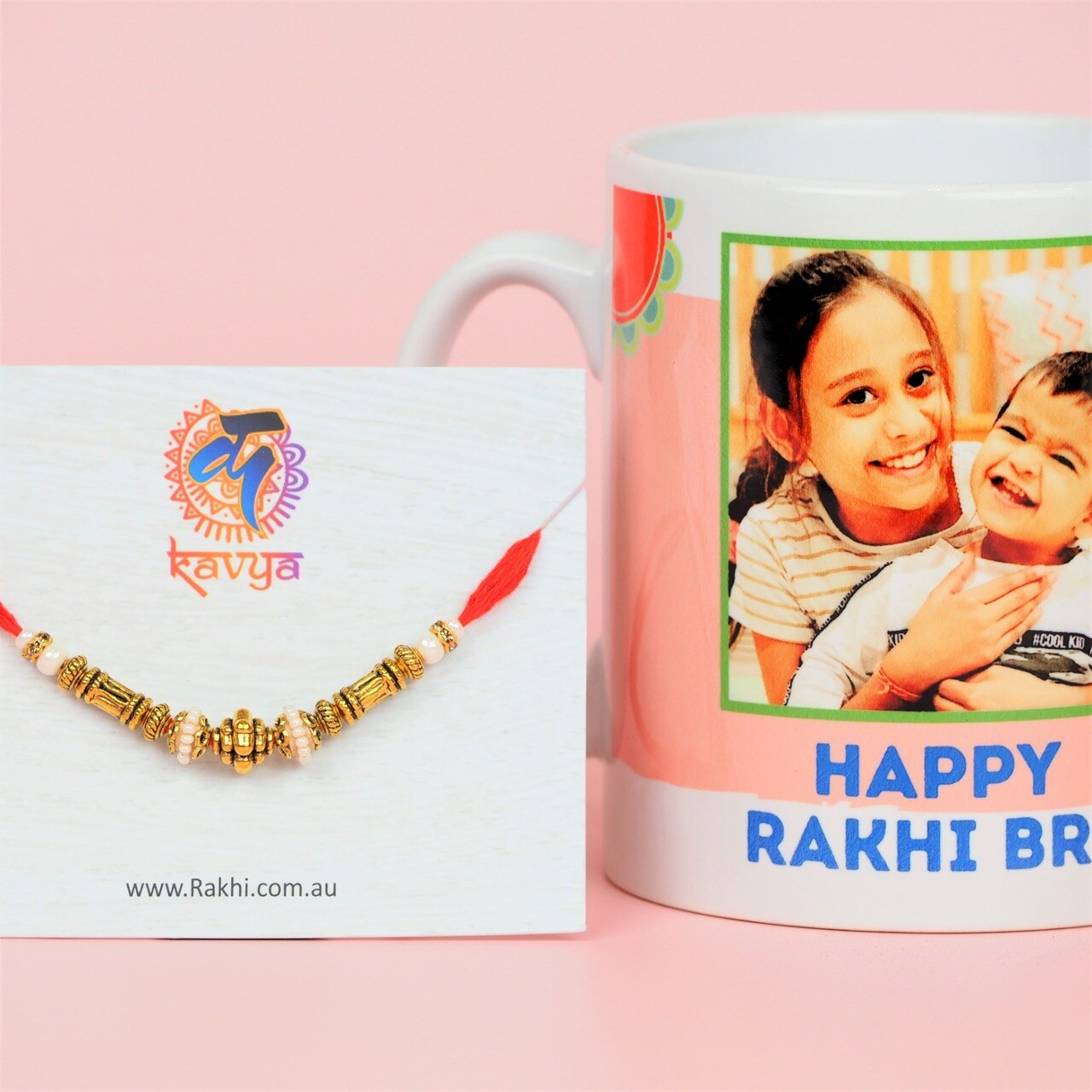 Traditional Brass Rakhi with Personalized Mug - For Australia