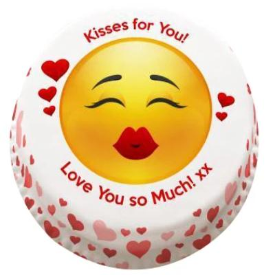 Emoji Kisses cake,. best kissing emoji cake online, online cake for valentin's day - Expressluv.in