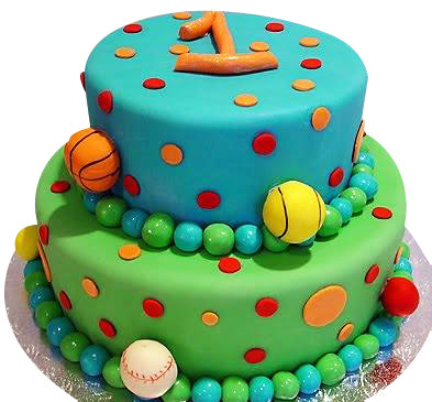 Two Step Birthday Cake for Kids with Sports Balls on Side  - Expressluv.in