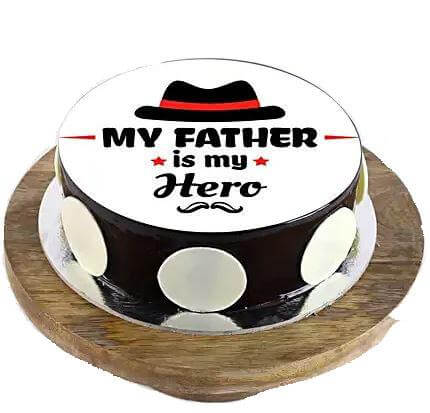 My Father is My Hero Cake - Chocolate