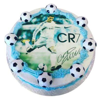 Circular Photo cake for foot ball lovers