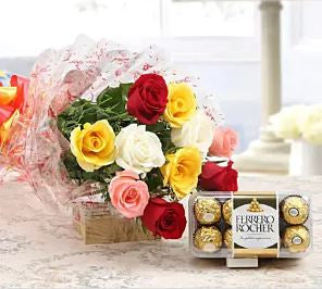 Best mix flowers online delivery, and ferrero rocher online delivery, best combo ever