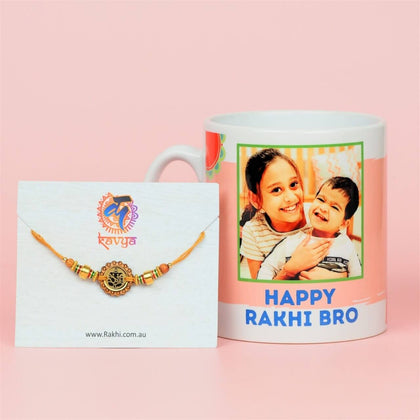 Ganpati Rakhi with Personalized Mug - For Australia