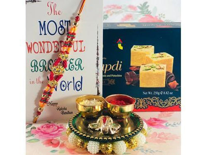 Dual String Colorful Fancy Rakhi with Soan Papdi - USA