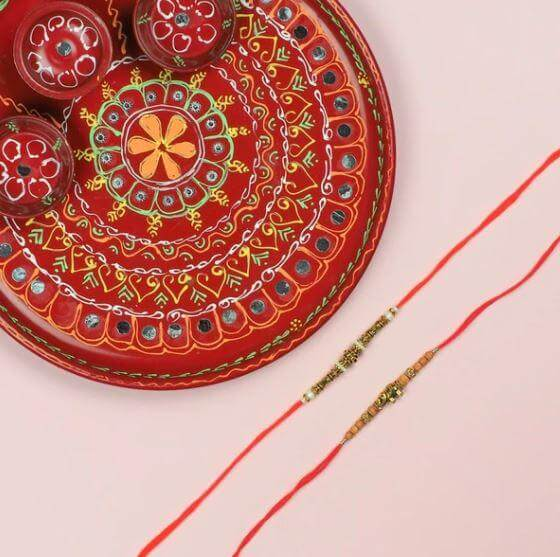 Maharaja Style 2 Brass Rakhi with Pooja Thali - FOR AUSTRALIA