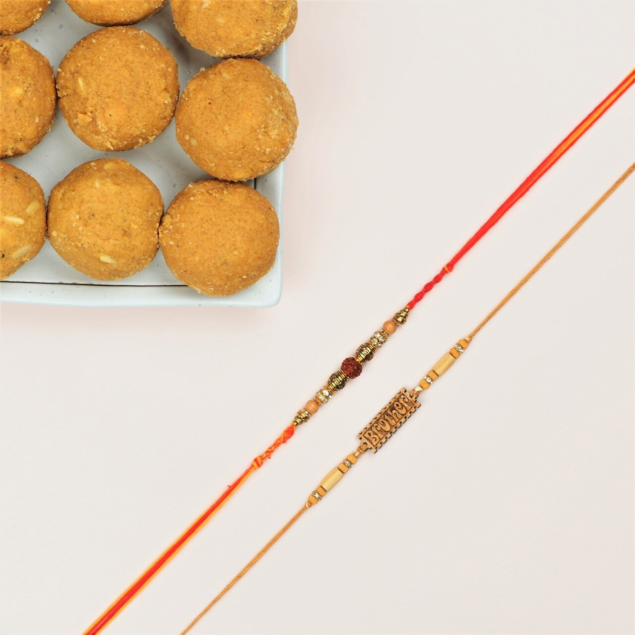 Two Classic Rakhi Set with Besan Laddu - FOR NEW ZEALAND