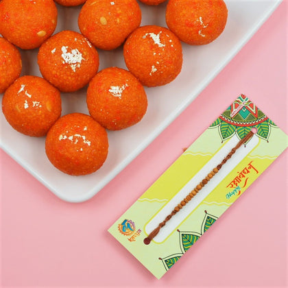 Sandalwood Rakhi with Motichoor Laddu - FOR AUSTRALIA
