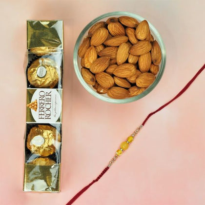 Yellow Agate Rakhi With Chocolates & Almonds