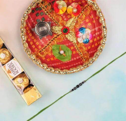 Lava Stone Rakhi with Ferrero Rocher & Pooja Thali - FOR AUSTRALIA