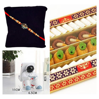send a rakhi combo for brother including a rakhi, mobile holder and sweets