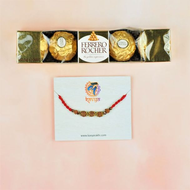 Rudraksh Rakhi With Ferrero Rocher's Chocolate