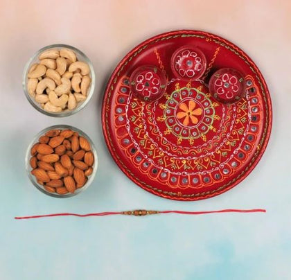 Sandalwood Rakhi with Pooja Thali & Dry Fruits - FOR AUSTRALIA