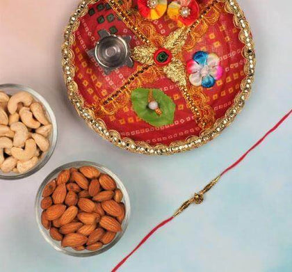 Brass Ganpati Rakhi with Pooja Thali & Dry Fruits - FOR AUSTRALIA