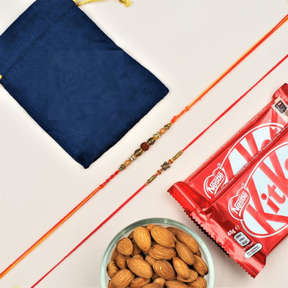 Rudraksh and Turtle Rakhi with Dry Fruits and Kit Kat - FOR NEW ZEALAND