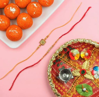 Sandalwood & Aum Rakhi with Motichoor Laddu and Pooja Thali - FOR AUSTRALIA