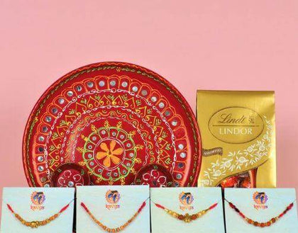 4 Premium Rakhi with Pooja Thali and Chocolate - FOR AUSTRALIA