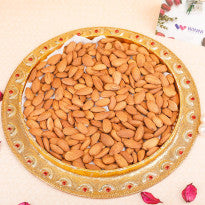 a plate full of Almonds with - Send Dry fruits online