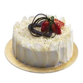 Awesome round white colored white forest cake order now  - Expressluv.in