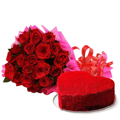 Combo for Valentine, a beautiful combo of red color flowers bouquet and cake with heart shape red color combo  - Expressluv.in