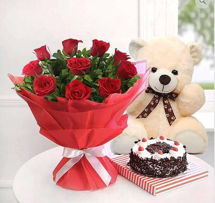 Combo Of 1 kg butterscotch cake with Red Roses and 35 cms Teddy