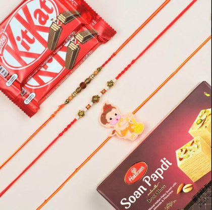 Bhai Bhabhi & Bhatija Rakhi with Kit-Kat & Soan Papdi - FOR NEW ZEALAND