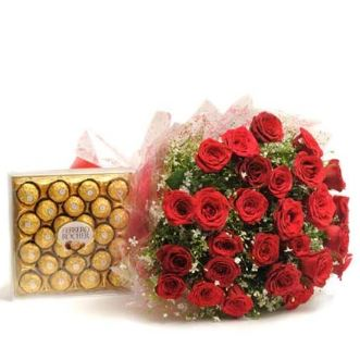 20 Roses Big Bunch and Ferrero Rocher 24pc Combo