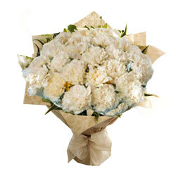 Carnations Bouquet white colored carnations bouquet flowers with beautiful design wrapping - Expressluv.in
