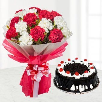 Black Forest Cake 500 grams and Carnations Bouquet