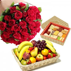 Fruits - Roses - Mithai Combo  - Expressluv.in