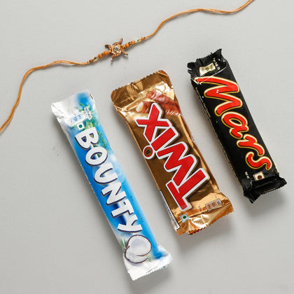 Swastik Rakhi Set with Chocolates To Europe