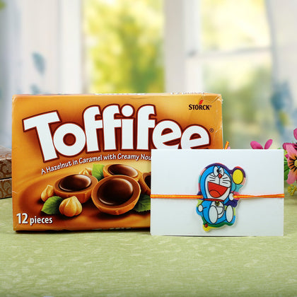 Toffiee with Cartoon Doraemon Rakhi To Europe