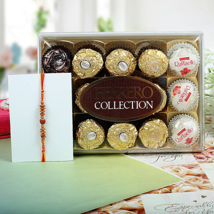 Sandalwood Rakhi With Ferrero Rocher To Europe