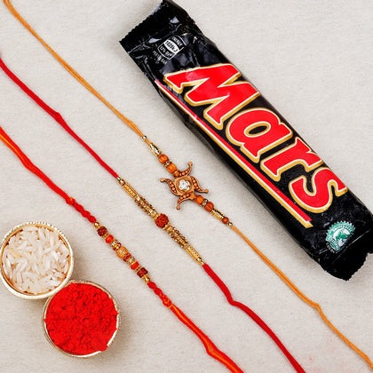 Three Beaded Rakhi with Chocolates Bar To Europe