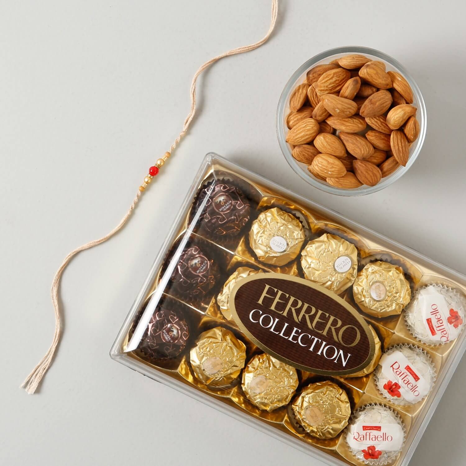 Moti Rakhi with Chocolate Hamper To UK