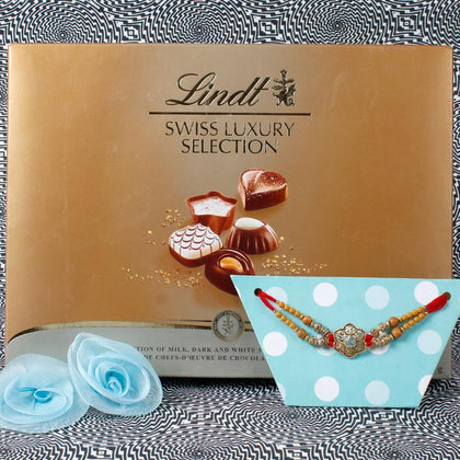 Ik Onkar Punjabi Rakhi with Lindt Chocolate Hamper To UK
