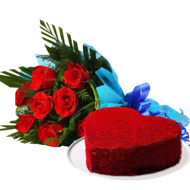 Red velvet cake in heart shaped and red roses bouquet for valentine's day gift  - Expressluv.in