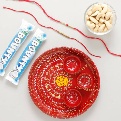 Beaded Rakhi Set Puja Thali & Chocolate -- UK