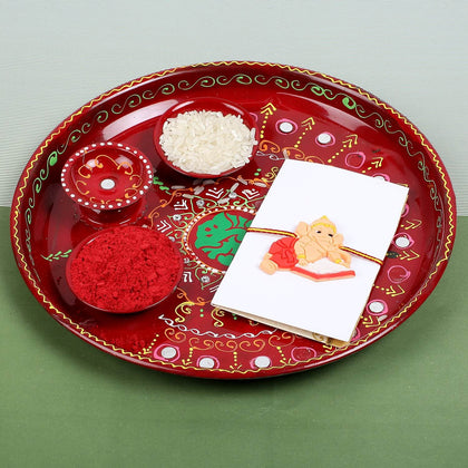 Ganesha Kids Rakhi with Puja Thali- UK