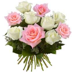 Pink & White Roses Bouquet  - Expressluv.in