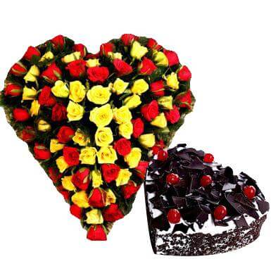 Combo of Heart Cake and Bouquet
