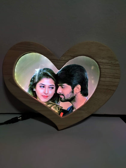 Heart LED Premium Wooden Frame
