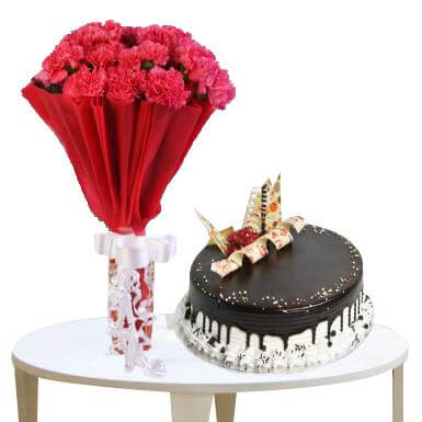 Chocolate Cake and Carnations