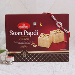 1 Jewelled Rakhi with 250 Gms 1 Jewelled Rakhi Haldirams Soan Papri - USA