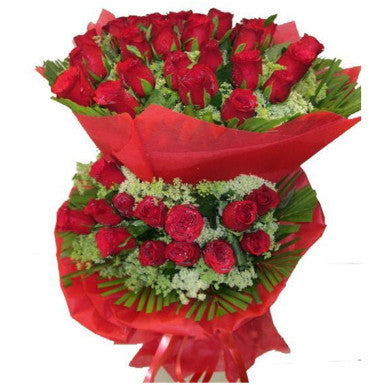 Red Roses with two Tier  - Expressluv.in