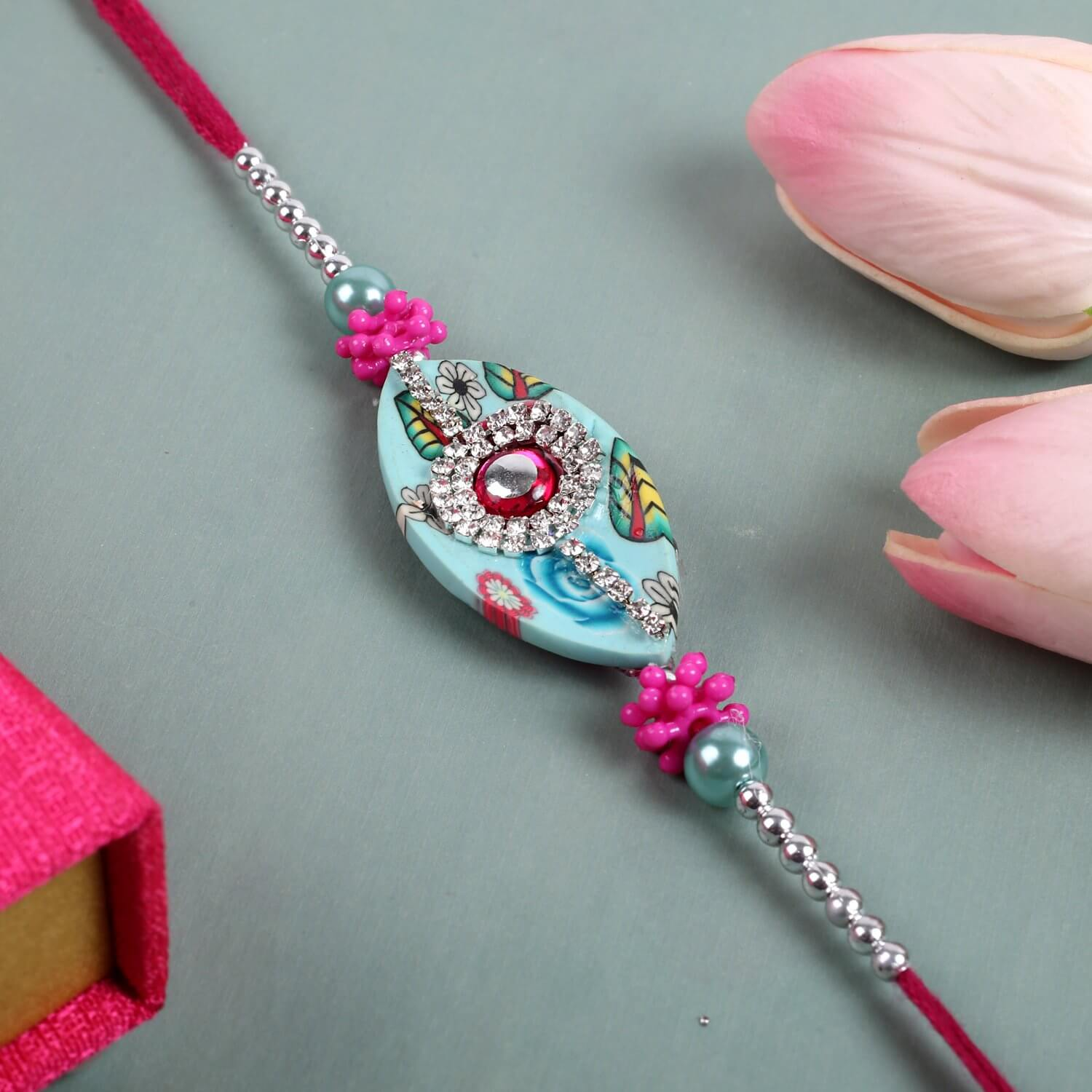 Pink Diamond Boat Rakhi  To Europe