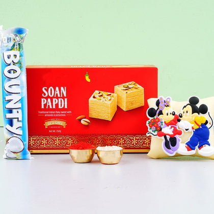 Mickey Mouse Rakhi With Soan Papdi Sweet To Europe