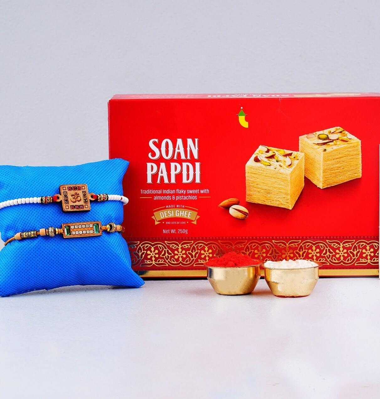 Aum Rakhi Set with Soan Papdi Sweet To UK