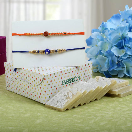 Blue Orange Rakhi With Kaju Katli Sweet To UK