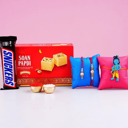 Bhaiya Bhabhi Kid Rakhi Set with Soan Papdi & Chocolate- For UK To UK